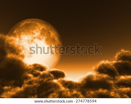 "Magic moon in the night sky ""Elements of this image furnished by NASA""  - stock photo"