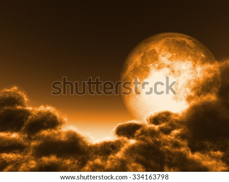 Magic moon in the night sky. Elements of this image were rendered in 3D software. No NASA images