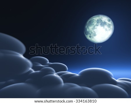 Magic moon in the night sky. Elements of this image were rendered in 3D software. No NASA images - stock photo