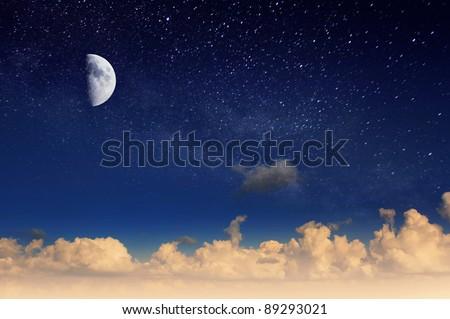 Magic moon in the night sky. Mystic sky. - stock photo