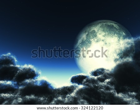 Magic moon in the night sky. Some elements of this image were furnished by NASA - stock photo