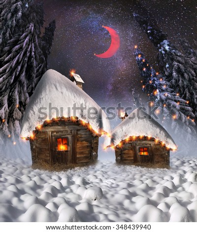 Magic mountain country, the home of Father Frost, Santa Claus other legendary heroes of the winter holidays. A cozy little house in the wild mountains and forests store a lot of magical fairy secrets