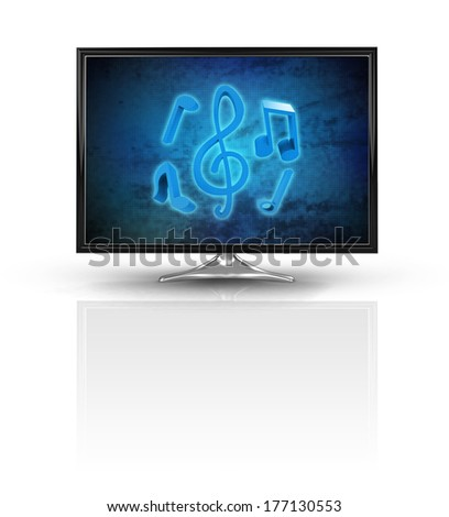 magic music on blue new modern screen isolated on white illustration