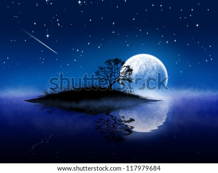 Magic night landscape with moon and lake - stock photo
