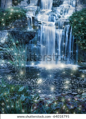 Magic night waterfall scene - stock photo