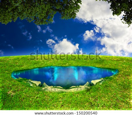 Magic Pond Fantasy Background - stock photo