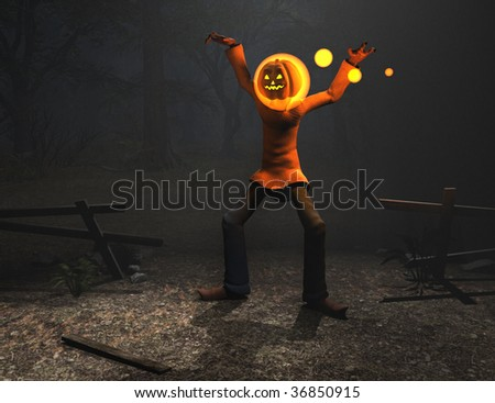 magic pumpkin man halloween character