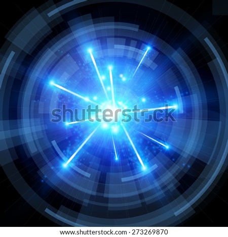 Magic Space - Big Blue Bang & Space Tunnel - stock photo