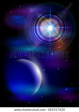 Magic Space - Big Star & Blue Planet, stars and constellations, nebulae and galaxies, lights