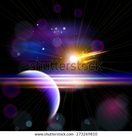 Magic Space - planet & comet, stars and constellations, nebulae and galaxies, lights - stock photo