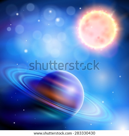 Magic Space - Sun and Saturn, planets, stars and constellations, nebulae and galaxies, lights - stock photo
