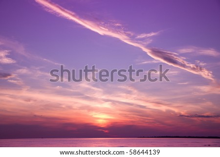 Magic Spear Flung Through Sunset Skies - stock photo