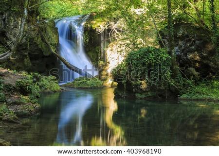 Magic summer waterfall in Banat, Romania, Europe - stock photo