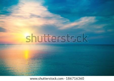 Magic sunrise over sea - stock photo