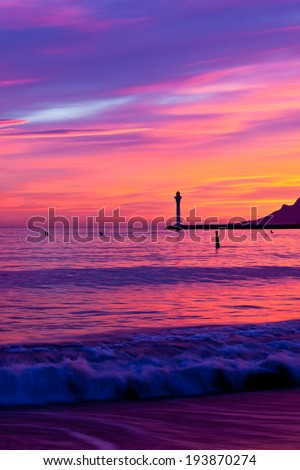 Magic Sunset in Cannes, Cote d'Azur, France. Vertical shot - stock photo