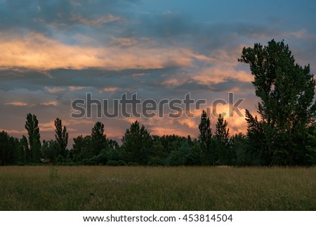 magic sunset in Germany - stock photo