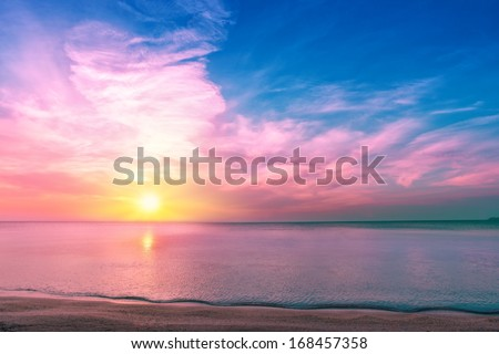 Magic sunset over seashore - stock photo