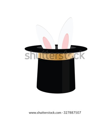 Magic trick rabbit in black hat cylinder. Top hat with rabbit. raster illustration rabbit in magician hat