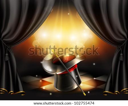 Magic tricks background, bitmap copy - stock photo