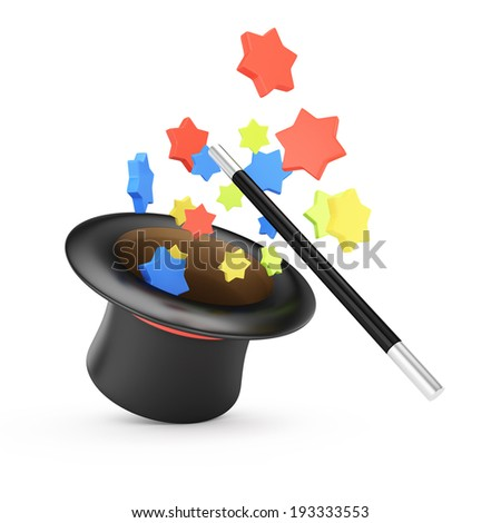 Magic wand and hat with colored stars isolated on white background. 3d rendering illustration