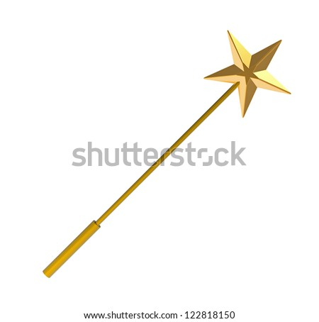 Magic wand, isolated on white, 3D render - stock photo