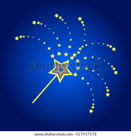magic wand on blue background with diverging rays of the stars - stock photo