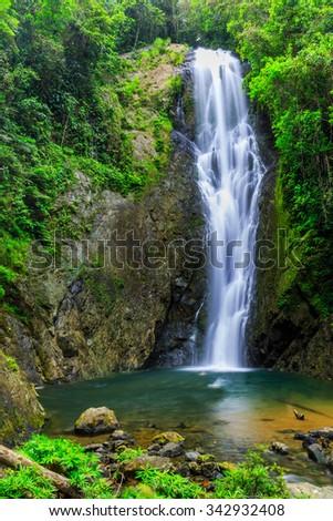 Magic Waterfall and natural pool in Suva, Fiji - stock photo