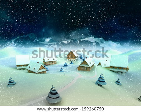 Magic winter village scene with mountains and snowfall illustration - stock photo