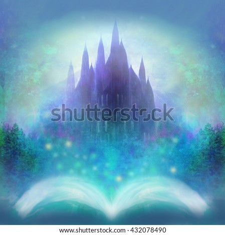 Magic world of tales, fairy castle appearing from the book  - stock photo