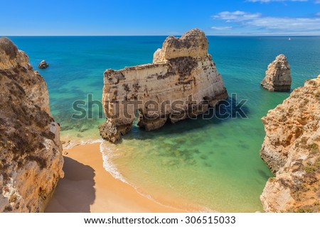 Magical beaches of Portugal for tourists. Algarve, Albufeira.