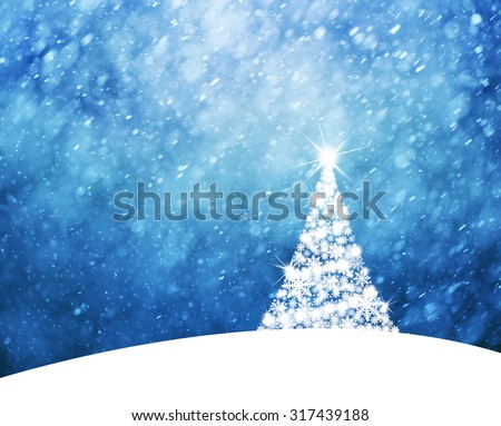 Magical blue colored sky with realistic heavy snowfall and lovely Christmas tree, Christmas and New Years Holiday winter landscape scene with decorative bright christmas tree on hill. Illustration. - stock photo