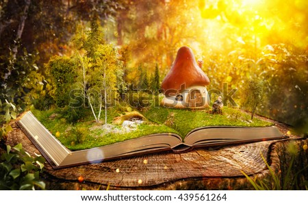 Magical cartoon mushroom house on pages of opened book in a fantastic forest. Unusual creative 3d illustration. Magic book concept illustration