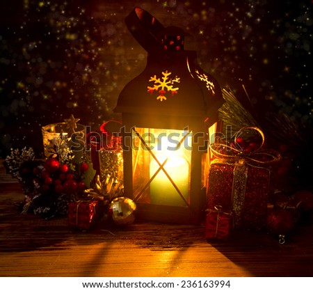 Magical Christmas Setting with Lantern,Sparkle, Stars and Decorations