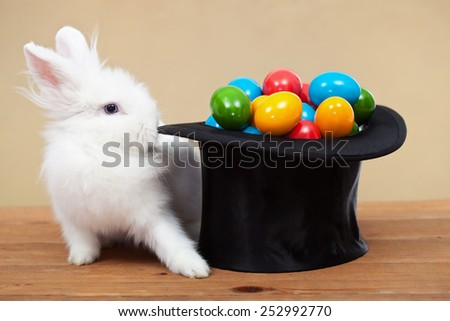 Magical easter with rabbit and colorful eggs in magician hat - on golden background, shallow depth of field - stock photo