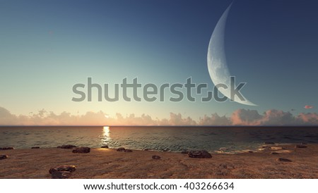Magical evening on the sea and the moon 3 3D rendering