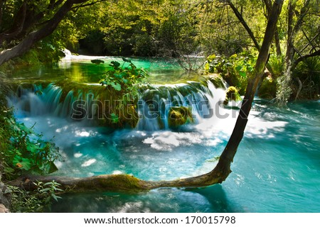 Magical, exotic waterfall landscape - stock photo
