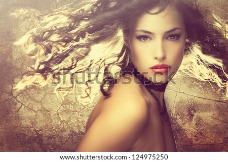 magical fantasy beauty young woman with hair in motion portrait - stock photo