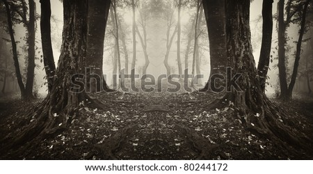magical gate in a forest sepia - stock photo