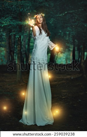 Magical lights in fairy forest . Fantasy and surreal concept - stock photo