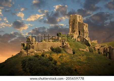 magical medieval corfe castle ruins - stock photo