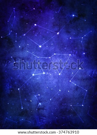 Magical night space background with illuminated stars and constellations. Watercolor cosmic texture with glowing stars. Night starry sky. - stock photo