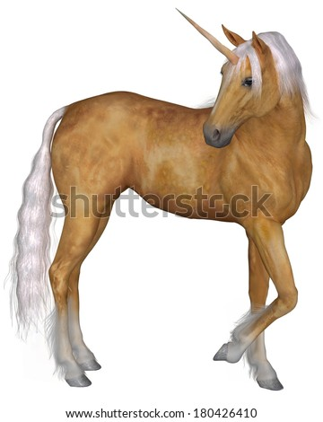 Magical palomino unicorn with golden horn and silver mane and tail turning against a white background, 3d digitally rendered illustration - stock photo