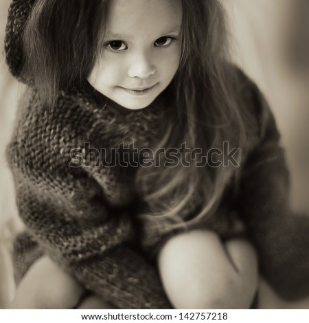magical portrait of charming little girl - stock photo