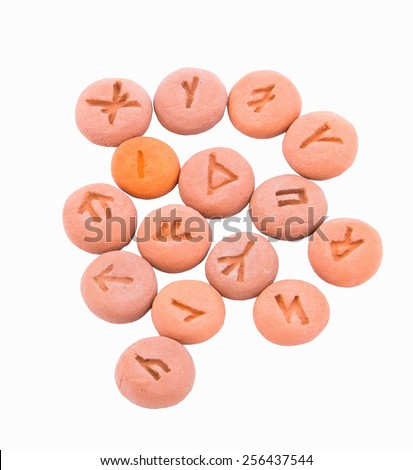 Magical runes on the rocks deposited - stock photo