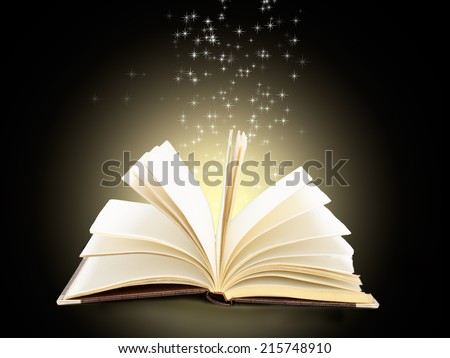 magical sparks fly from  open book