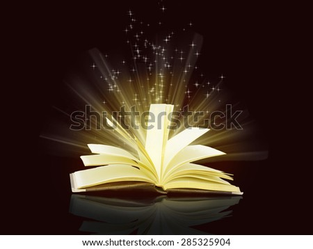 magical sparks fly from  open book on black background - stock photo