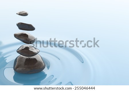 Magical stones floating over a water surface. Digital illustration. Zen