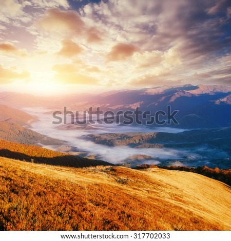 Magical sunset in the mountains Ukraine