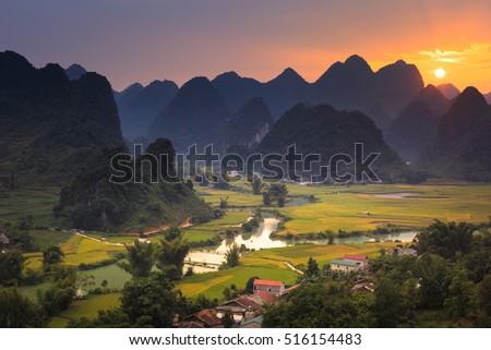Magical sunset on the area near mountain Phong Nam, Cao Bang, Vietnam