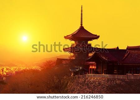 Magical sunset over Kiyomizu-dera Temple, Kyoto, Japan - stock photo